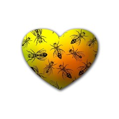 Insect Pattern Rubber Coaster (heart)  by Simbadda