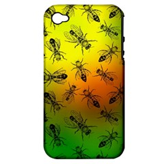 Insect Pattern Apple Iphone 4/4s Hardshell Case (pc+silicone) by Simbadda
