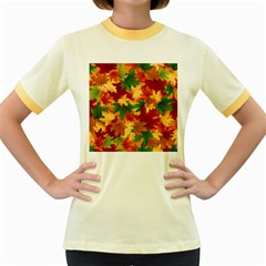 Autumn Leaves Women s Fitted Ringer T-shirts by Simbadda