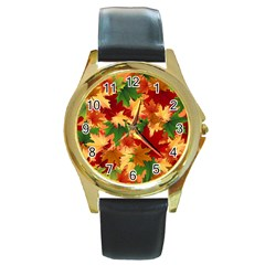 Autumn Leaves Round Gold Metal Watch by Simbadda