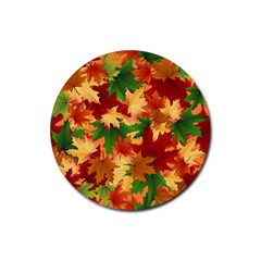 Autumn Leaves Rubber Coaster (round)  by Simbadda