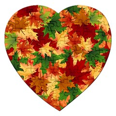 Autumn Leaves Jigsaw Puzzle (heart) by Simbadda