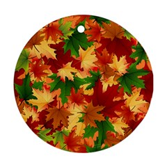 Autumn Leaves Round Ornament (two Sides) by Simbadda