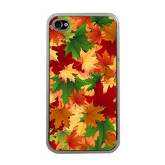 Autumn Leaves Apple Iphone 4 Case (clear) by Simbadda
