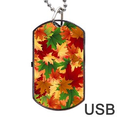 Autumn Leaves Dog Tag Usb Flash (one Side) by Simbadda