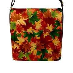 Autumn Leaves Flap Messenger Bag (l)