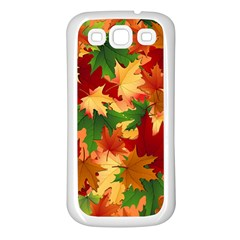 Autumn Leaves Samsung Galaxy S3 Back Case (white) by Simbadda