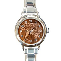 Elephant Aztec Wood Tekture Round Italian Charm Watch by Simbadda