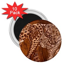 Elephant Aztec Wood Tekture 2 25  Magnets (10 Pack)  by Simbadda