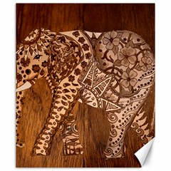 Elephant Aztec Wood Tekture Canvas 20  X 24   by Simbadda