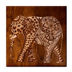 Elephant Aztec Wood Tekture Face Towel by Simbadda