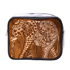 Elephant Aztec Wood Tekture Mini Toiletries Bags by Simbadda