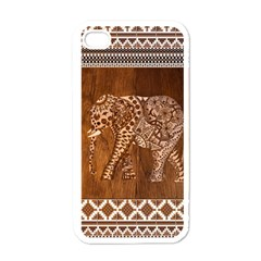 Elephant Aztec Wood Tekture Apple Iphone 4 Case (white) by Simbadda