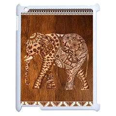 Elephant Aztec Wood Tekture Apple Ipad 2 Case (white) by Simbadda