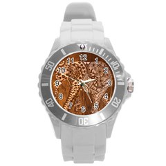 Elephant Aztec Wood Tekture Round Plastic Sport Watch (l) by Simbadda
