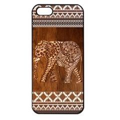 Elephant Aztec Wood Tekture Apple Iphone 5 Seamless Case (black) by Simbadda