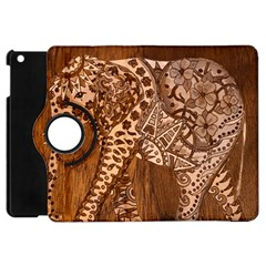 Elephant Aztec Wood Tekture Apple Ipad Mini Flip 360 Case by Simbadda