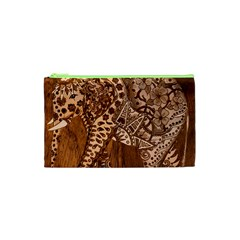 Elephant Aztec Wood Tekture Cosmetic Bag (xs) by Simbadda