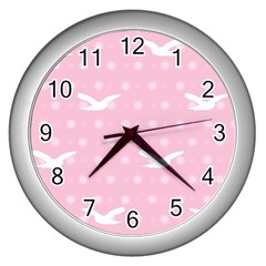 Wallpaper Same Palette Pink Star Bird Animals Wall Clocks (silver)  by Alisyart