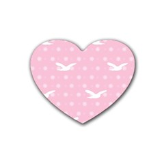 Wallpaper Same Palette Pink Star Bird Animals Rubber Coaster (heart)  by Alisyart