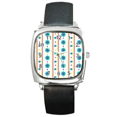 Beans Flower Floral Blue Square Metal Watch by Alisyart