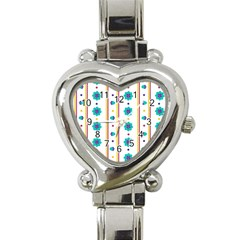 Beans Flower Floral Blue Heart Italian Charm Watch