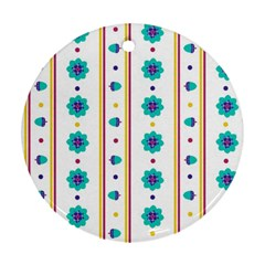 Beans Flower Floral Blue Round Ornament (two Sides) by Alisyart