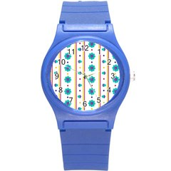 Beans Flower Floral Blue Round Plastic Sport Watch (s) by Alisyart