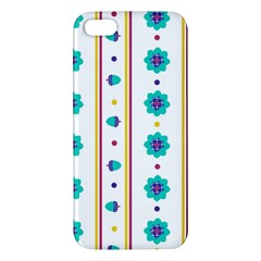 Beans Flower Floral Blue Apple Iphone 5 Premium Hardshell Case by Alisyart