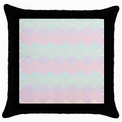 Argyle Triangle Plaid Blue Pink Red Blue Orange Throw Pillow Case (black) by Alisyart