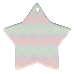 Argyle Triangle Plaid Blue Pink Red Blue Orange Star Ornament (two Sides)