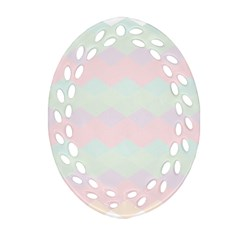 Argyle Triangle Plaid Blue Pink Red Blue Orange Ornament (oval Filigree)
