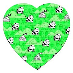 Animals Cow Home Sweet Tree Green Jigsaw Puzzle (heart) by Alisyart