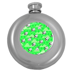 Animals Cow Home Sweet Tree Green Round Hip Flask (5 Oz) by Alisyart