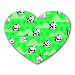 Animals Cow Home Sweet Tree Green Heart Mousepads