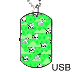 Animals Cow Home Sweet Tree Green Dog Tag Usb Flash (two Sides) by Alisyart