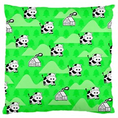 Animals Cow Home Sweet Tree Green Large Cushion Case (two Sides) by Alisyart