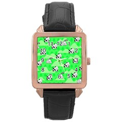 Animals Cow Home Sweet Tree Green Rose Gold Leather Watch
