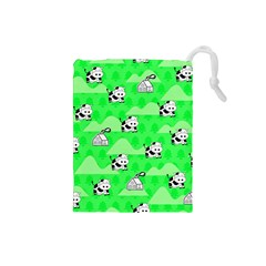 Animals Cow Home Sweet Tree Green Drawstring Pouches (small)  by Alisyart