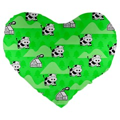 Animals Cow Home Sweet Tree Green Large 19  Premium Flano Heart Shape Cushions by Alisyart