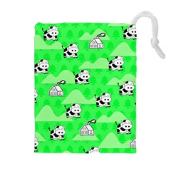 Animals Cow Home Sweet Tree Green Drawstring Pouches (extra Large) by Alisyart