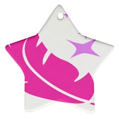 Bird Feathers Star Pink Ornament (star) by Alisyart