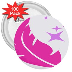 Bird Feathers Star Pink 3  Buttons (100 Pack)