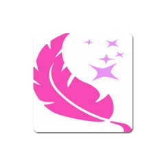 Bird Feathers Star Pink Square Magnet by Alisyart