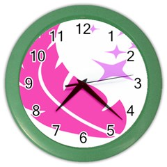 Bird Feathers Star Pink Color Wall Clocks