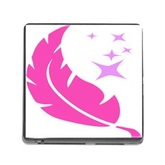 Bird Feathers Star Pink Memory Card Reader (square) by Alisyart