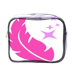 Bird Feathers Star Pink Mini Toiletries Bags