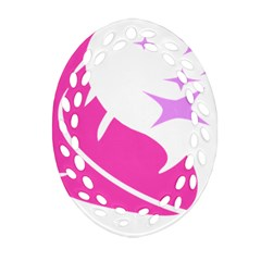 Bird Feathers Star Pink Oval Filigree Ornament (two Sides) by Alisyart