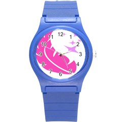 Bird Feathers Star Pink Round Plastic Sport Watch (s) by Alisyart