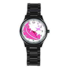 Bird Feathers Star Pink Stainless Steel Round Watch by Alisyart